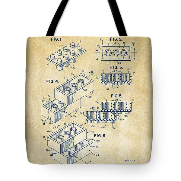 Vintage 1961 Toy Building Brick Patent Art Tote Bag by Nikki Marie Smith