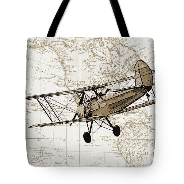 Vintage Adventure Tote Bag by Delphimages Photo Creations