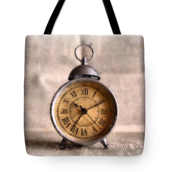 Vintage Alarm Clock Watercolor Tote Bag