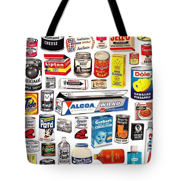 Tote Bag featuring the digital art Vintage American Brands by ReInVintaged