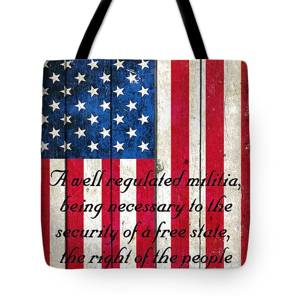 Vintage American Flag And 2nd Amendment On Old Wood Planks Tote Bag by M L C