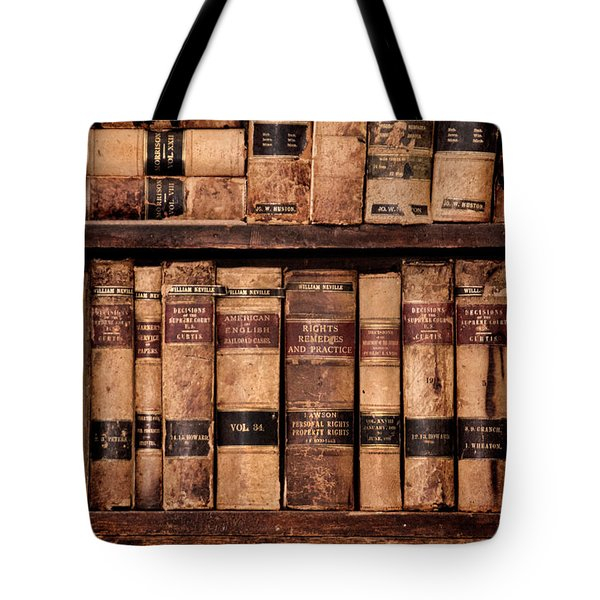 Tote Bag featuring the photograph Vintage American Law Books by Jill Battaglia