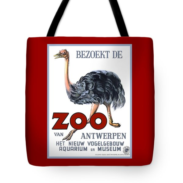 Vintage Antwerp Zoo Ostrich Advertising Poster Tote Bag