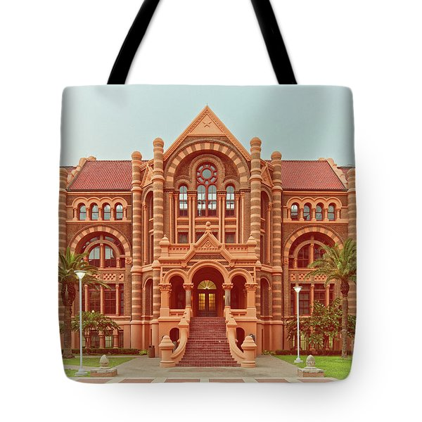 Vintage Architectural Photograph Of Ashbel Smith Old Red Building At Utmb - Downtown Galveston Texas Tote Bag