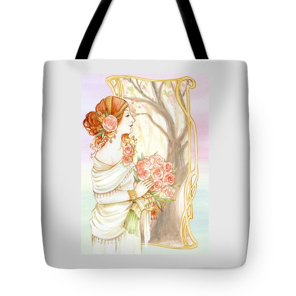 Vintage Art Nouveau Flower Lady Tote Bag