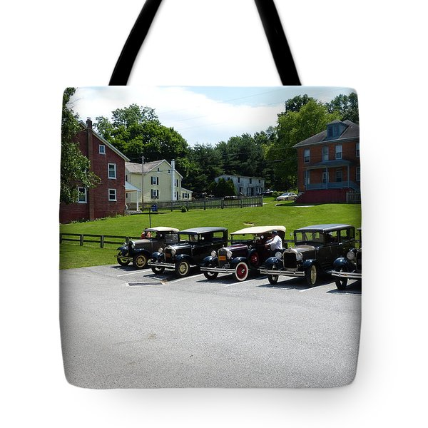 Tote Bag featuring the photograph Vintage Auto Display by Donald C Morgan