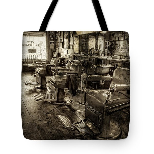 Vintage Barber Shop Tote Bag