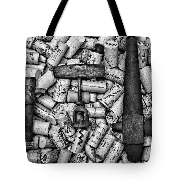 Vintage Barrel Taps And Cork Screw Black And White Tote Bag