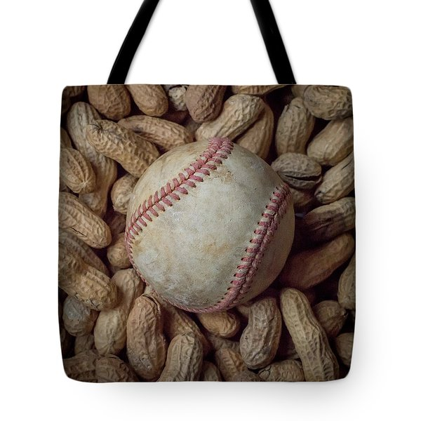 Tote Bag featuring the photograph Vintage Baseball And Peanuts Square by Terry DeLuco