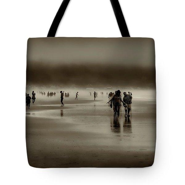Vintage Beach Walk Tote Bag by David Patterson