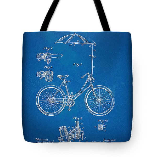 Vintage Bicycle Parasol Patent Artwork 1896 Tote Bag by Nikki Marie Smith