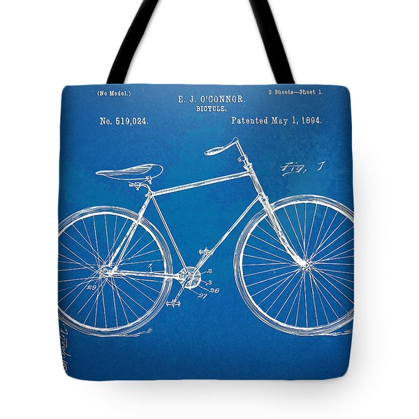 Vintage Bicycle Patent Artwork 1894 Tote Bag