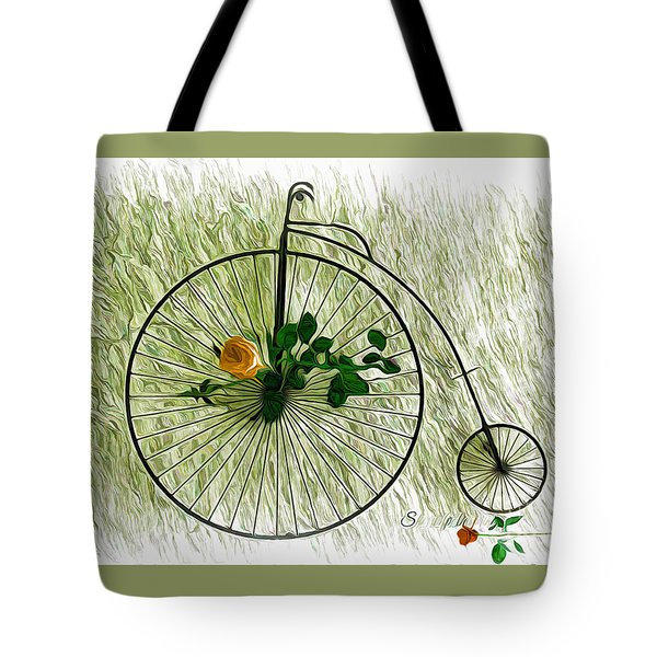 Tote Bag featuring the photograph Vintage Bike And Rose by Sherri  Of Palm Springs