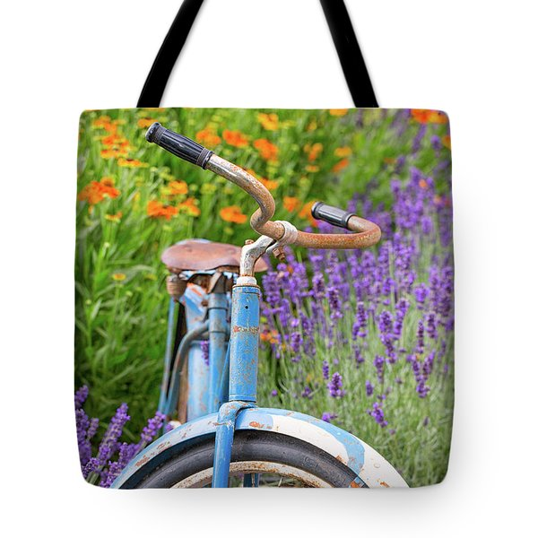 Tote Bag featuring the photograph Vintage Bike In Lavender by Patricia Davidson