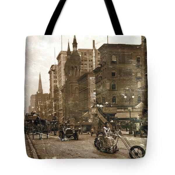 Vintage Bike Lady Tote Bag