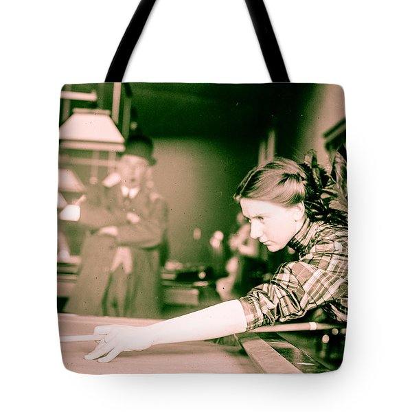 Vintage Billiards Girl Shooting Pool Tote Bag
