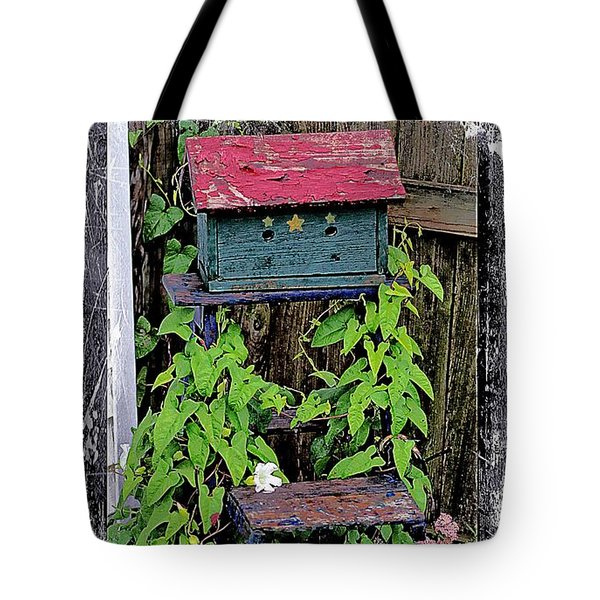 Vintage Bird House Tote Bag