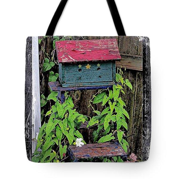 Vintage Bird House Tote Bag