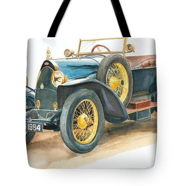 Vintage Blue Bugatti Classic Car Tote Bag