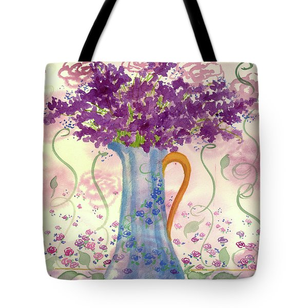 Tote Bag featuring the painting Vintage Blue Flower Bouquet by Cathie Richardson