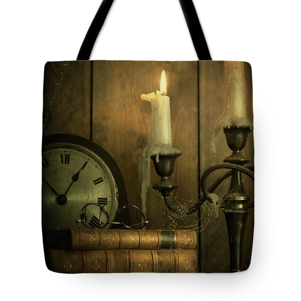 Vintage Books With Candles And An Old Clock Tote Bag