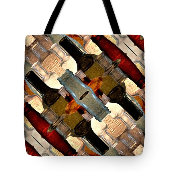 Vintage Bottles Abstract Tote Bag by Phil Perkins