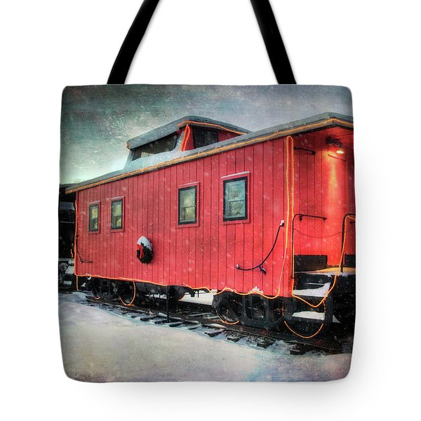 Tote Bag featuring the photograph Vintage Caboose - Winter Train by Joann Vitali