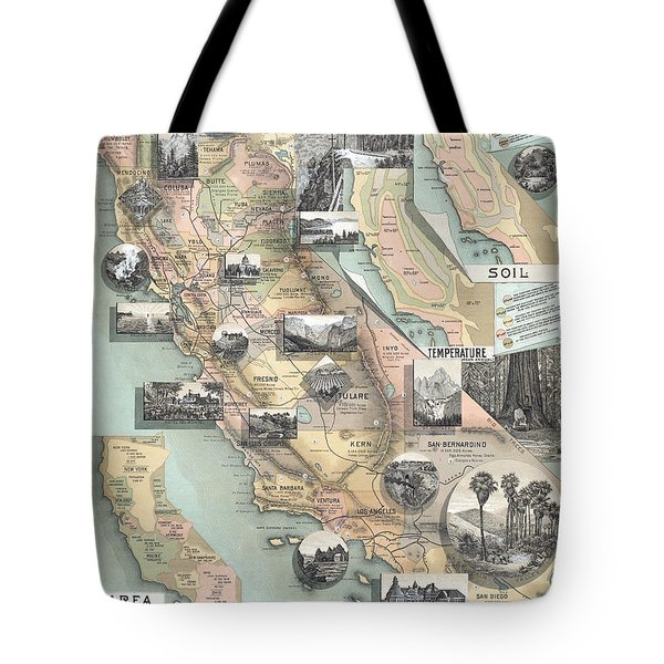Vintage California Map Tote Bag