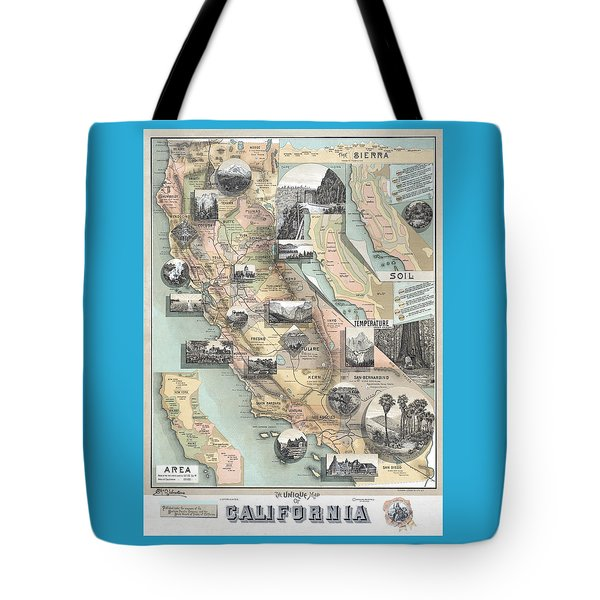 Vintage California Map Tote Bag