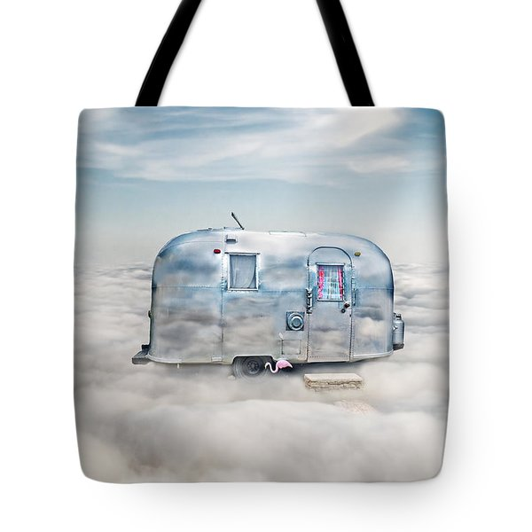 Vintage Camping Trailer In The Clouds Tote Bag by Jill Battaglia