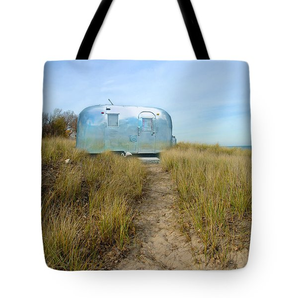 Vintage Camping Trailer Near The Sea Tote Bag by Jill Battaglia