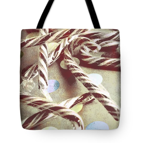 Vintage Candy Canes Tote Bag