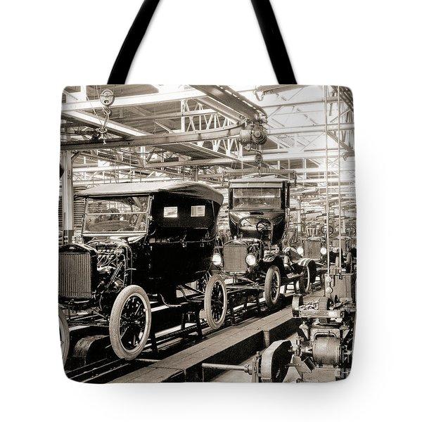 Vintage Car Assembly Line Tote Bag