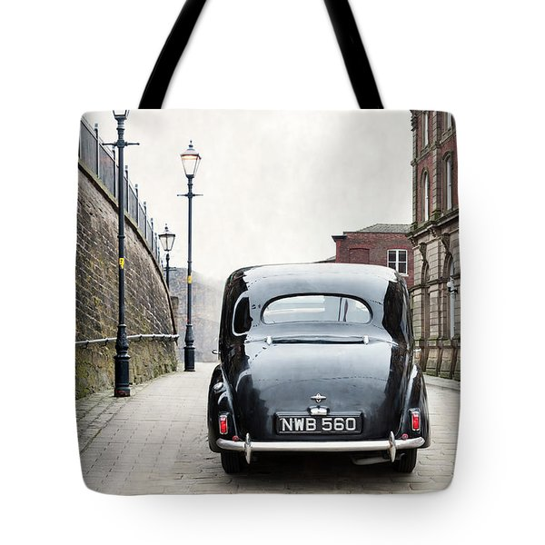 Vintage Car On A Cobbled Street Tote Bag