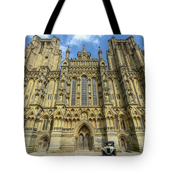 Tote Bag featuring the photograph Vintage Car Parked In Front Of Wells Cathedral by Jacek Wojnarowski