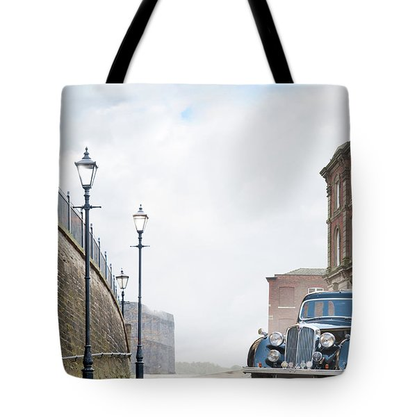 Vintage Car Parked On The Street Tote Bag by Lee Avison
