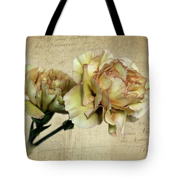 Vintage Carnations Tote Bag