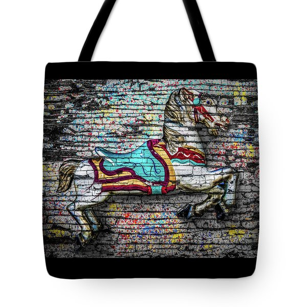 Vintage Carousel Horse Tote Bag