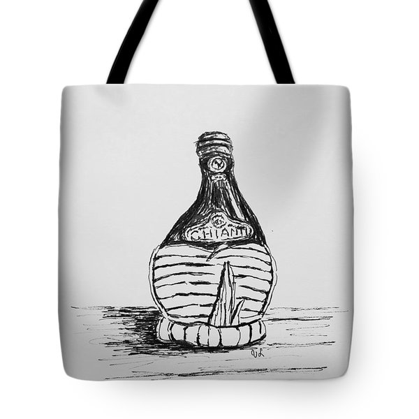 Tote Bag featuring the drawing Vintage Chianti by Victoria Lakes