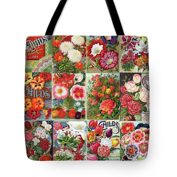 Tote Bag featuring the photograph Vintage Childs Nursery Flower Seed Packets Mosaic  by Peggy Collins