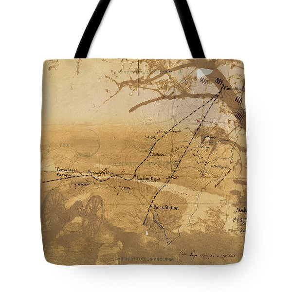 Tote Bag featuring the digital art Vintage Civil War Map Art, The Battle Of Chattanooga At Lookout Mountain by Shelli Fitzpatrick