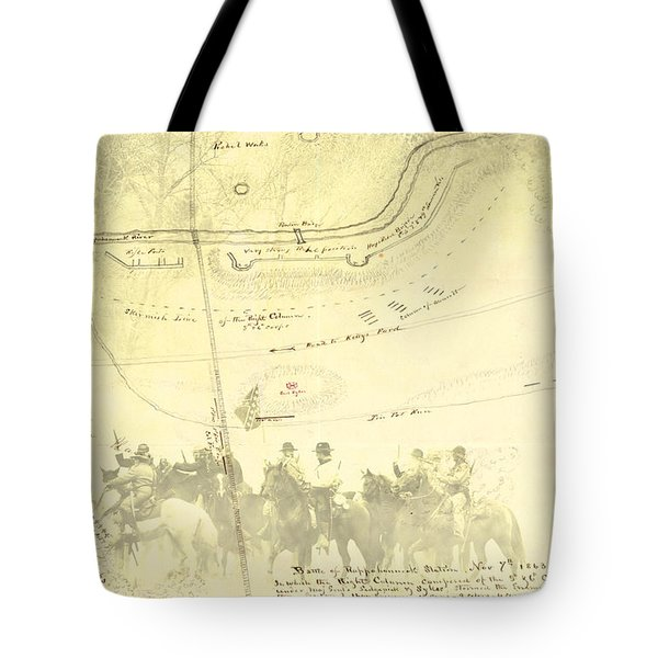 Tote Bag featuring the digital art Vintage Civil War Map Art, The 2nd Battle Of Rappahannock Station  by Shelli Fitzpatrick