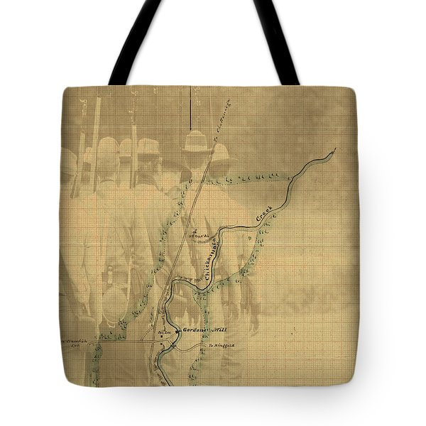Tote Bag featuring the digital art Vintage Civil War Map Art, The Battle Of Chickamauga by Shelli Fitzpatrick