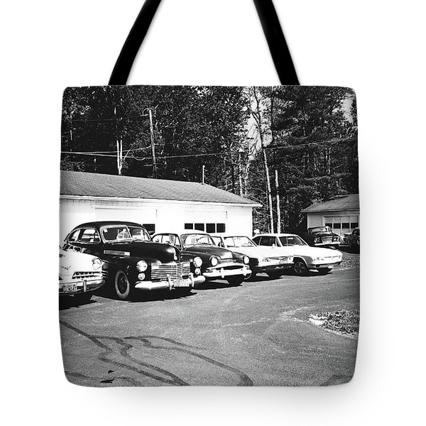Tote Bag featuring the photograph Vintage Classic Cars In Black And White by Trina Ansel