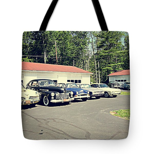 Tote Bag featuring the photograph Vintage Classic Cars by Trina Ansel