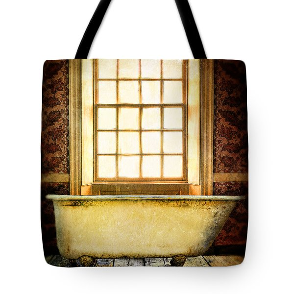 Vintage Clawfoot Bathtub By Window Tote Bag by Jill Battaglia