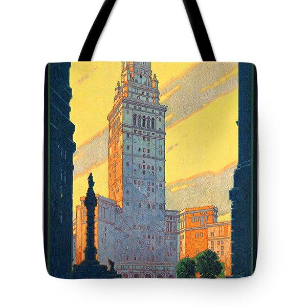 Vintage Cleveland Travel Poster Tote Bag