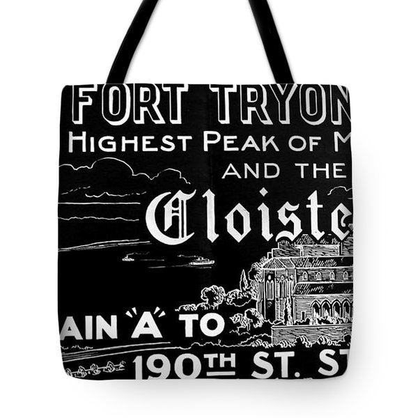 Vintage Cloisters And Fort Tryon Park Poster Tote Bag