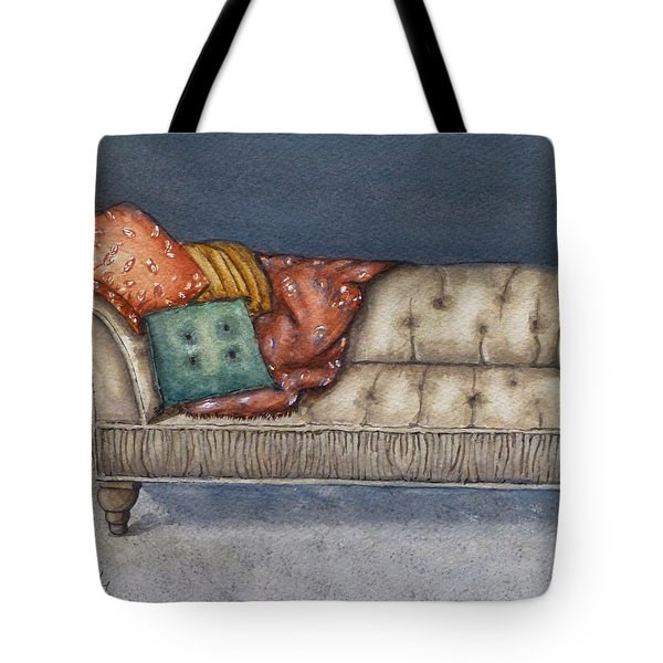 Tote Bag featuring the painting Vintage Comfy Couch by Kelly Mills