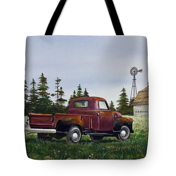 Tote Bag featuring the painting Vintage Country Pickup by James Williamson